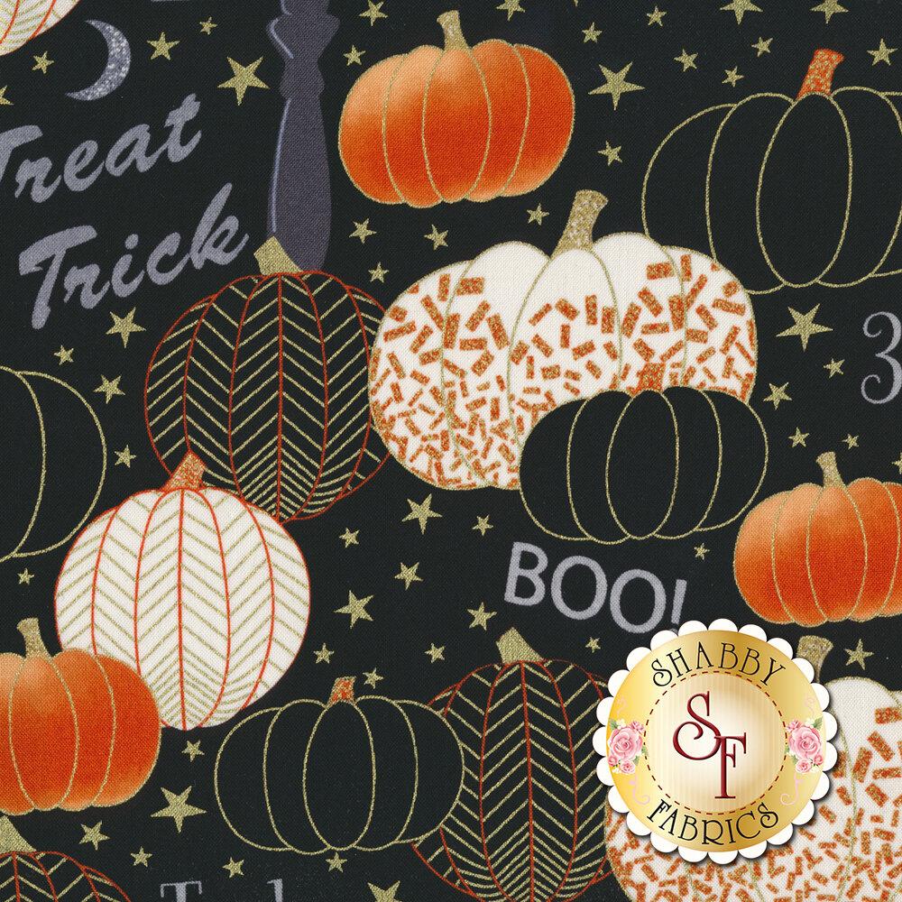 Midnight Spell 6948M-99 Classy Pumpkins Black by Henry Glass Fabrics
