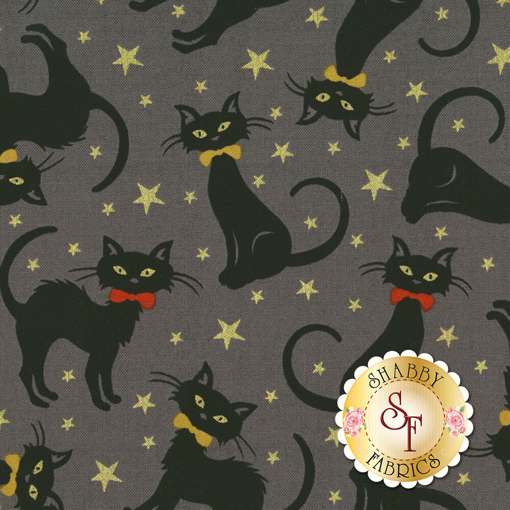 Midnight Spell 6950M-39 Tossed Cats Gray by Henry Glass Fabrics
