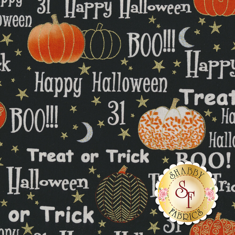 Midnight Spell 6951M-99 Halloween Words Black by Henry Glass Fabrics