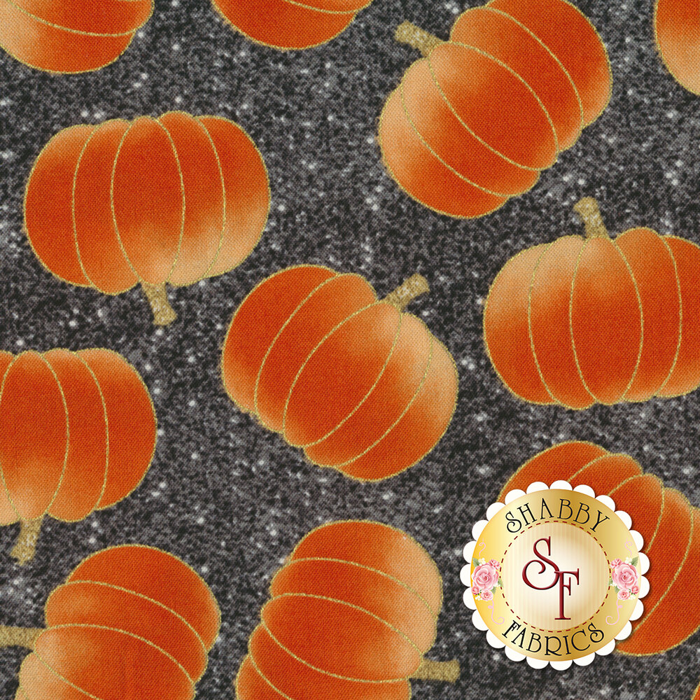 Midnight Spell 6953M-99 Tossed Pumpkins Black by Henry Glass Fabrics