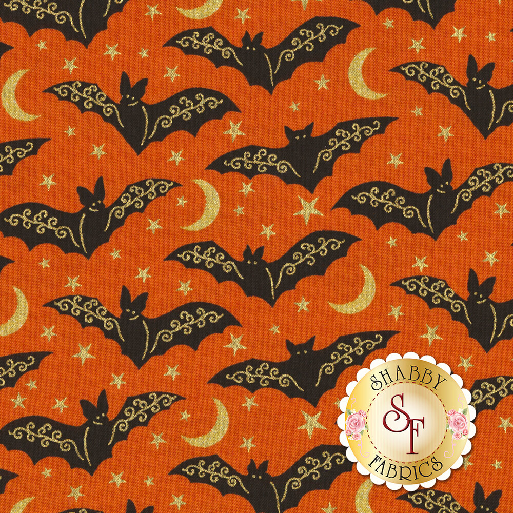 Midnight Spell 6954M-33 Bats Orange by Henry Glass Fabrics