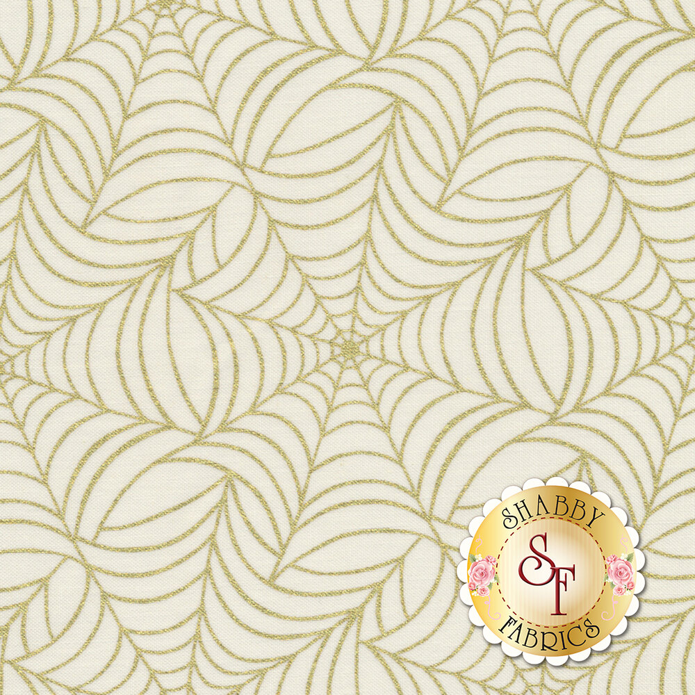 Midnight Spell 6956M-44 Spiderweb Cream by Henry Glass Fabrics