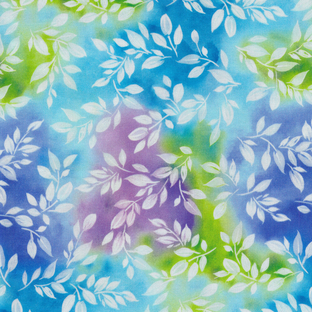 Mottled blue, purple, and green background with white leaves | Shabby Fabrics