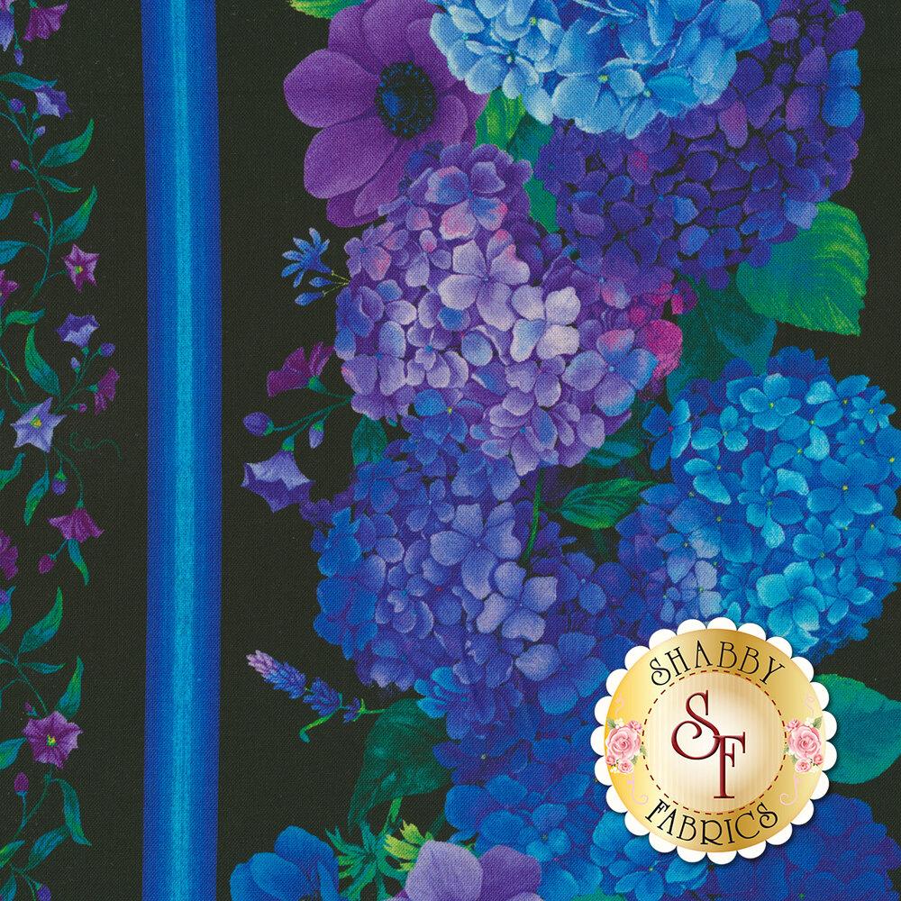 Blue stripes and stunning hydrangea flowers on a black background | Shabby Fabrics