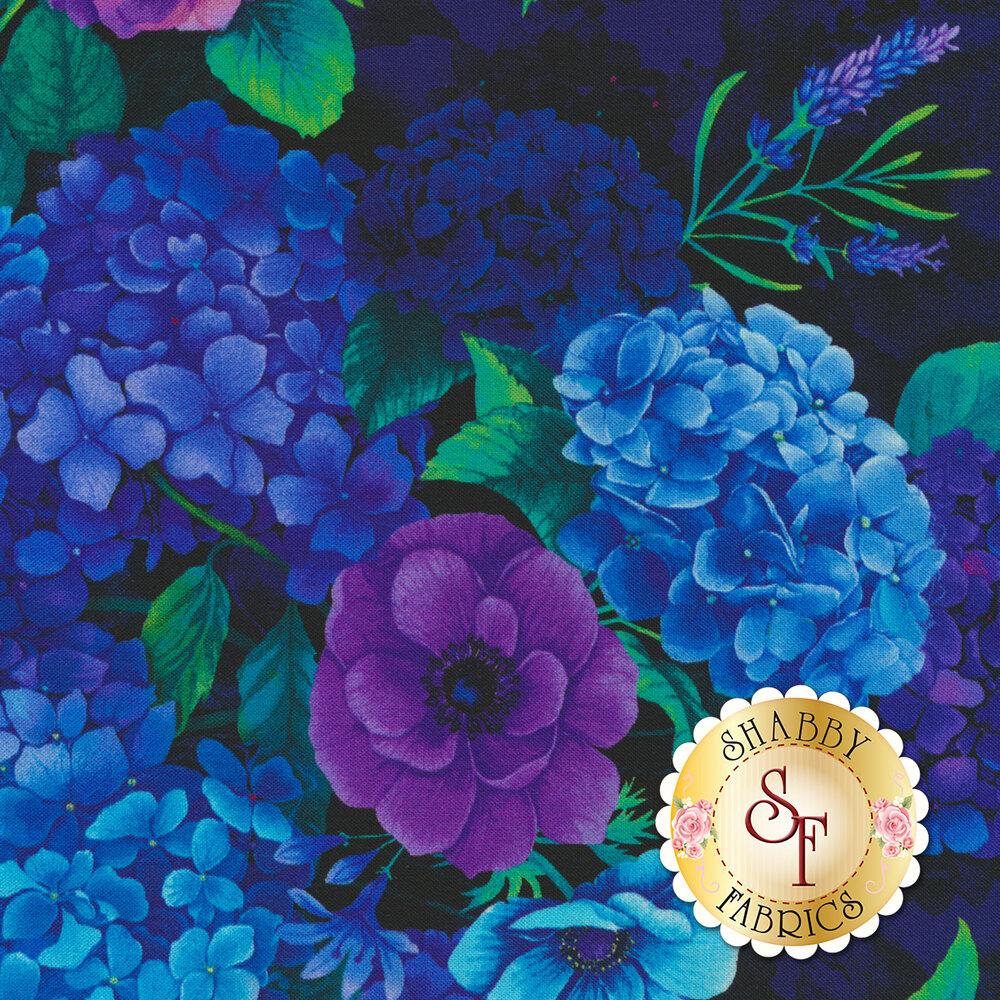 Stunning blue and purple hydrangea flowers on a black background   Shabby Fabrics