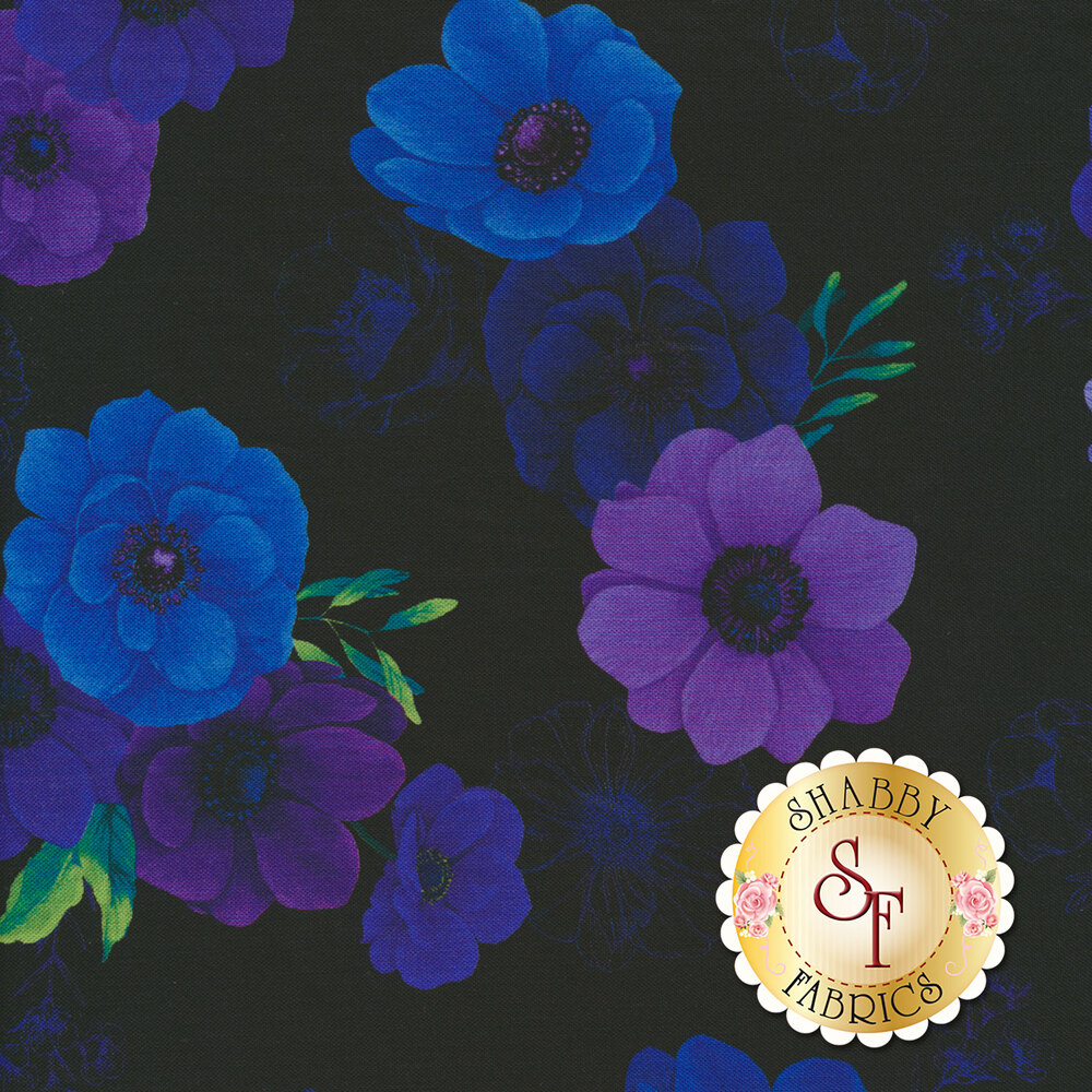 Beautiful blue and purple flowers with green leaves on a black background | Shabby Fabrics