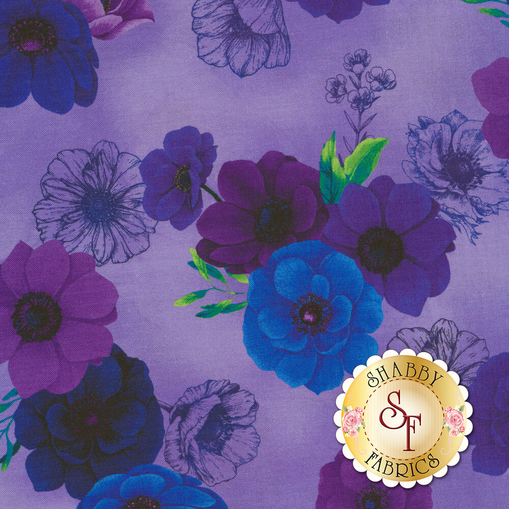 Beautiful blue and purple flowers with green leaves on a light purple background | Shabby Fabrics