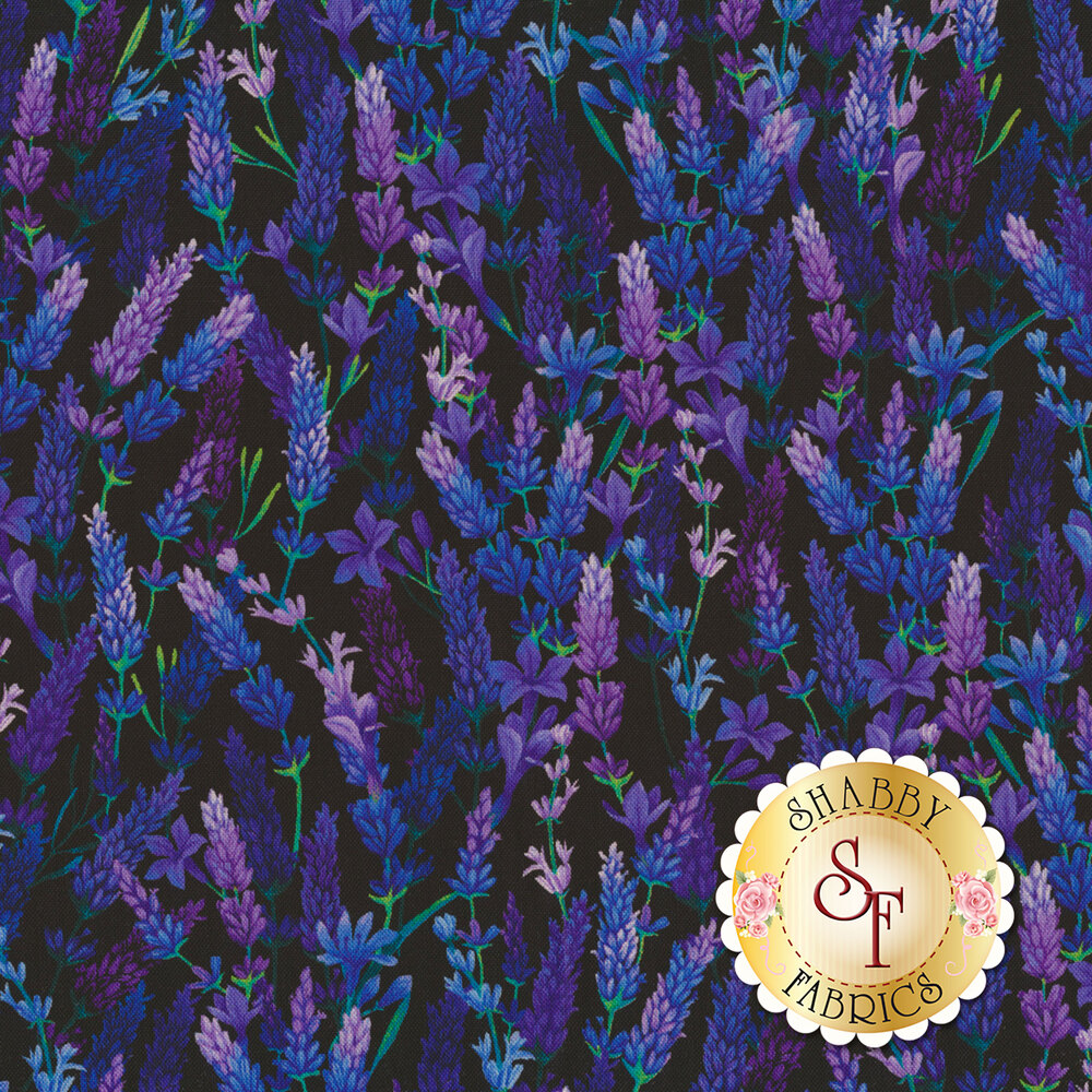Beautiful blue and purple lavender flowers on a black background | Shabby Fabrics