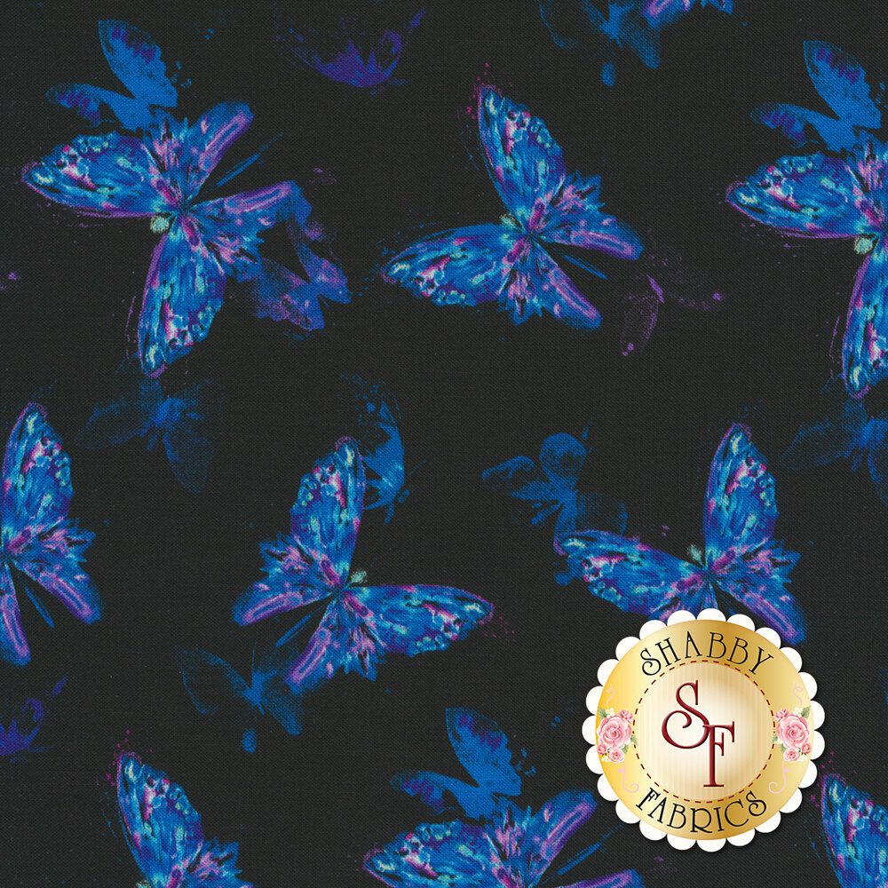 Magical blue and purple butterflies on a black background | Shabby Fabrics