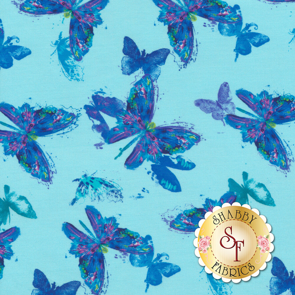 Magical blue and purple butterflies on a turquoise background | Shabby Fabrics