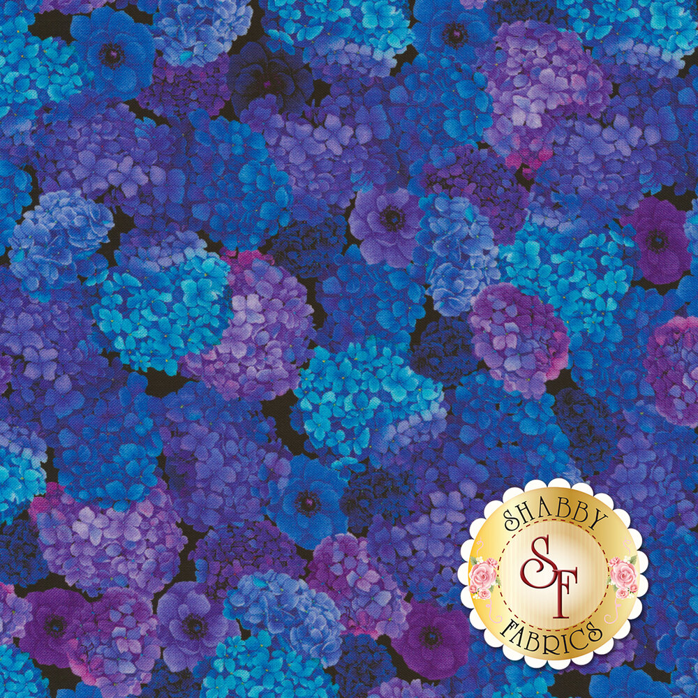 Beautiful blue and purple hydrangea flowers on a black background | Shabby Fabrics