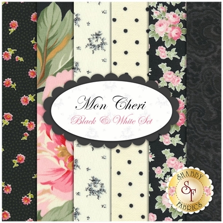 Mon Cheri  6 FQ Set - Black And White by Robyn Pandolph for RJR Fabrics