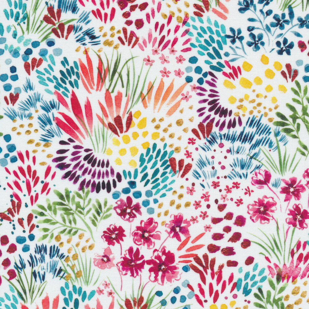 Lovely multi colored flowers all over a white background | Shabby Fabrics