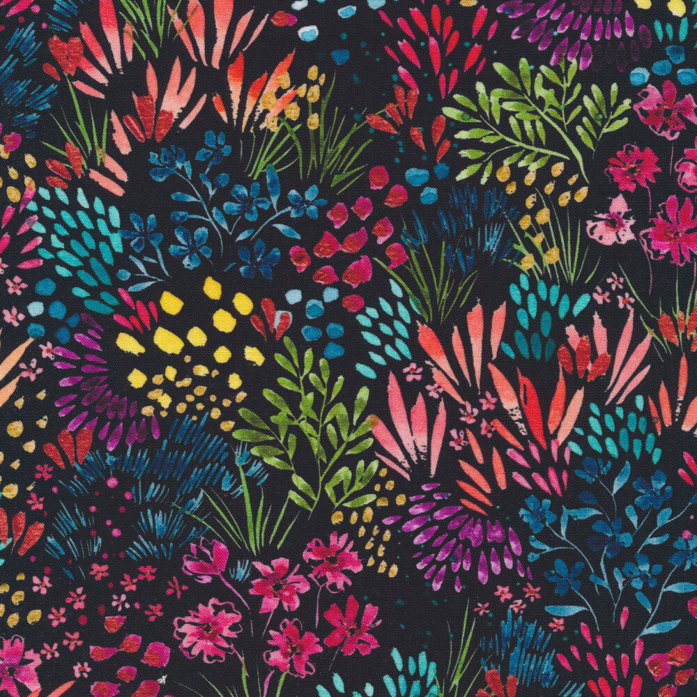 Lovely multi colored flowers all over a black background | Shabby Fabrics