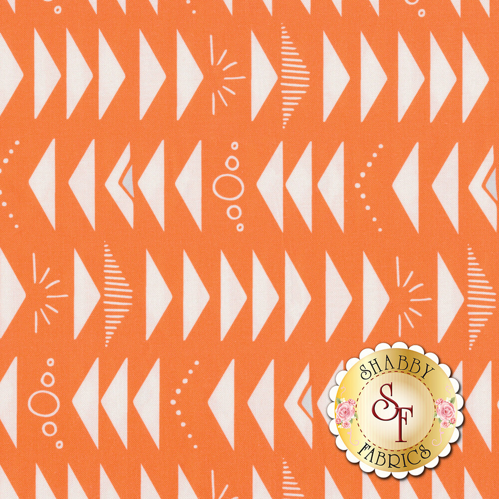 Alternating white triangles, sunbursts, circles, and stripes on an orange background