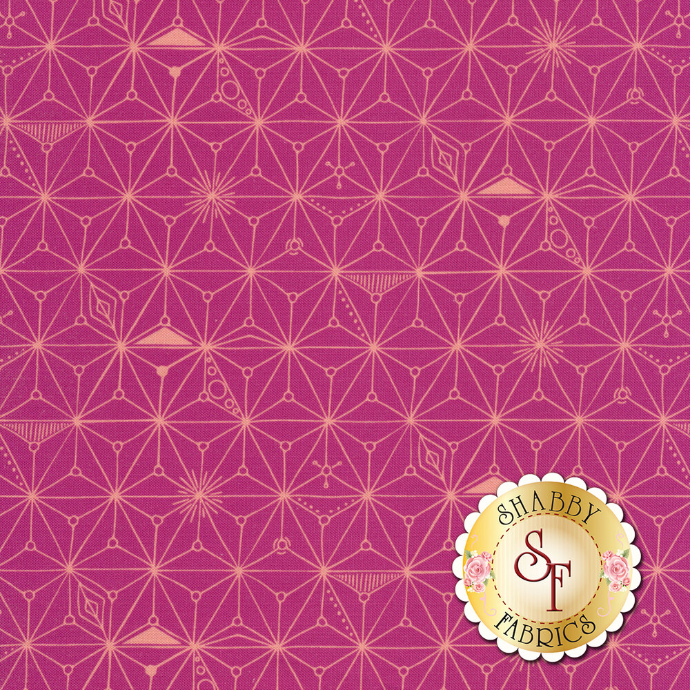 Branching lines connecting in diamond shapes on a pink background | Shabby Fabrics