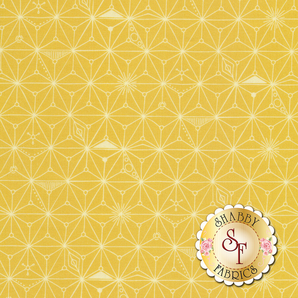Branching lines connecting in diamond shapes on a yellow background | Shabby Fabrics