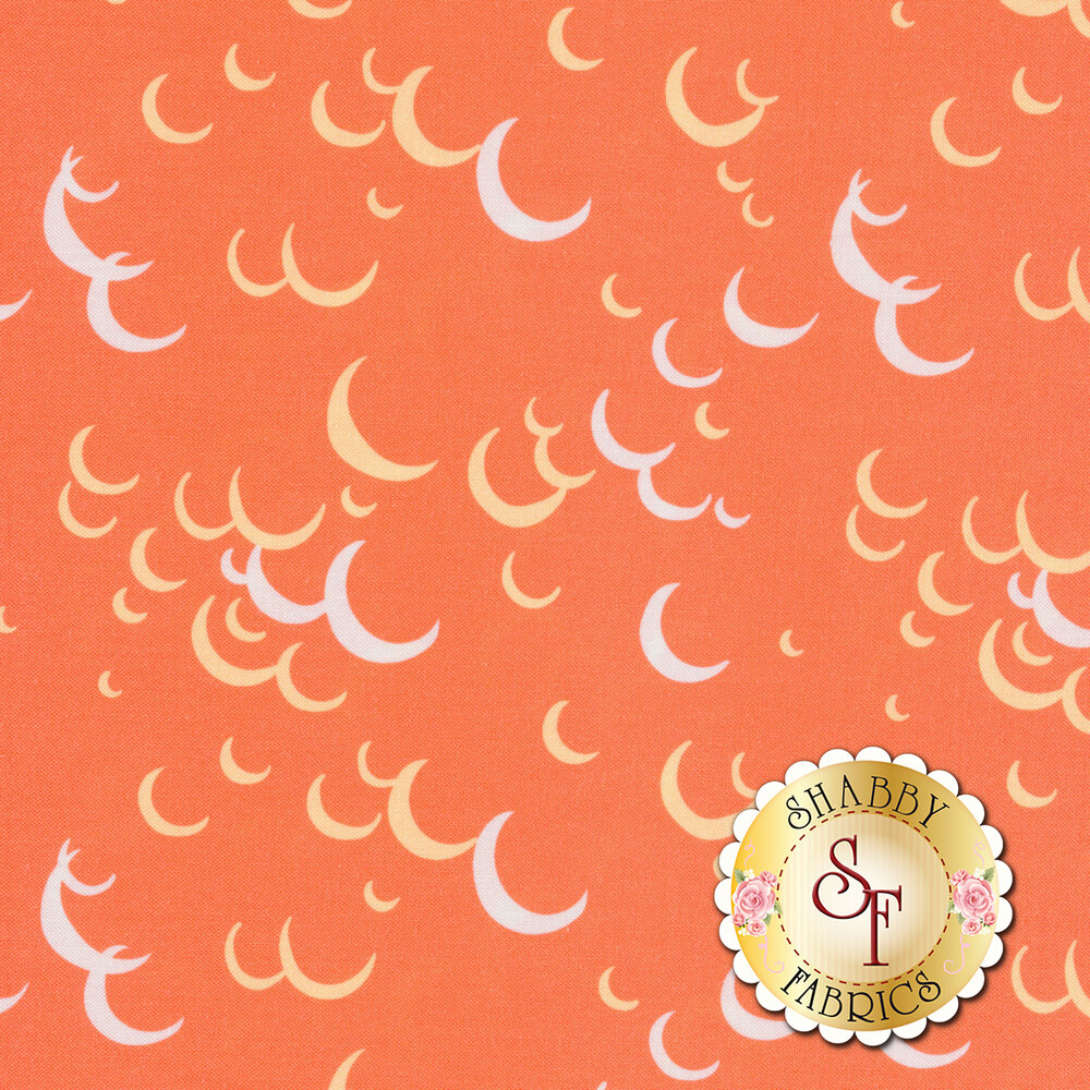 White and yellow crescent moons on an orange background | Shabby Fabrics