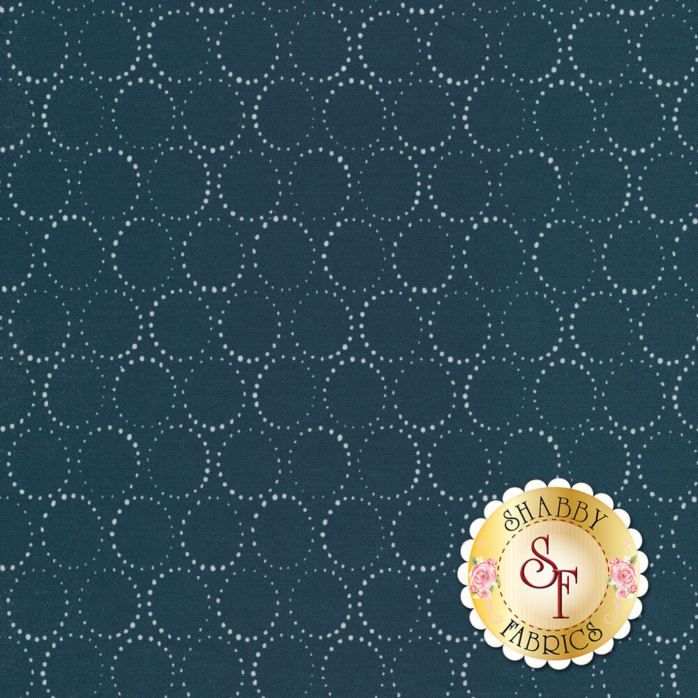 Rotating circular dots on a blue background | Shabby Fabrics