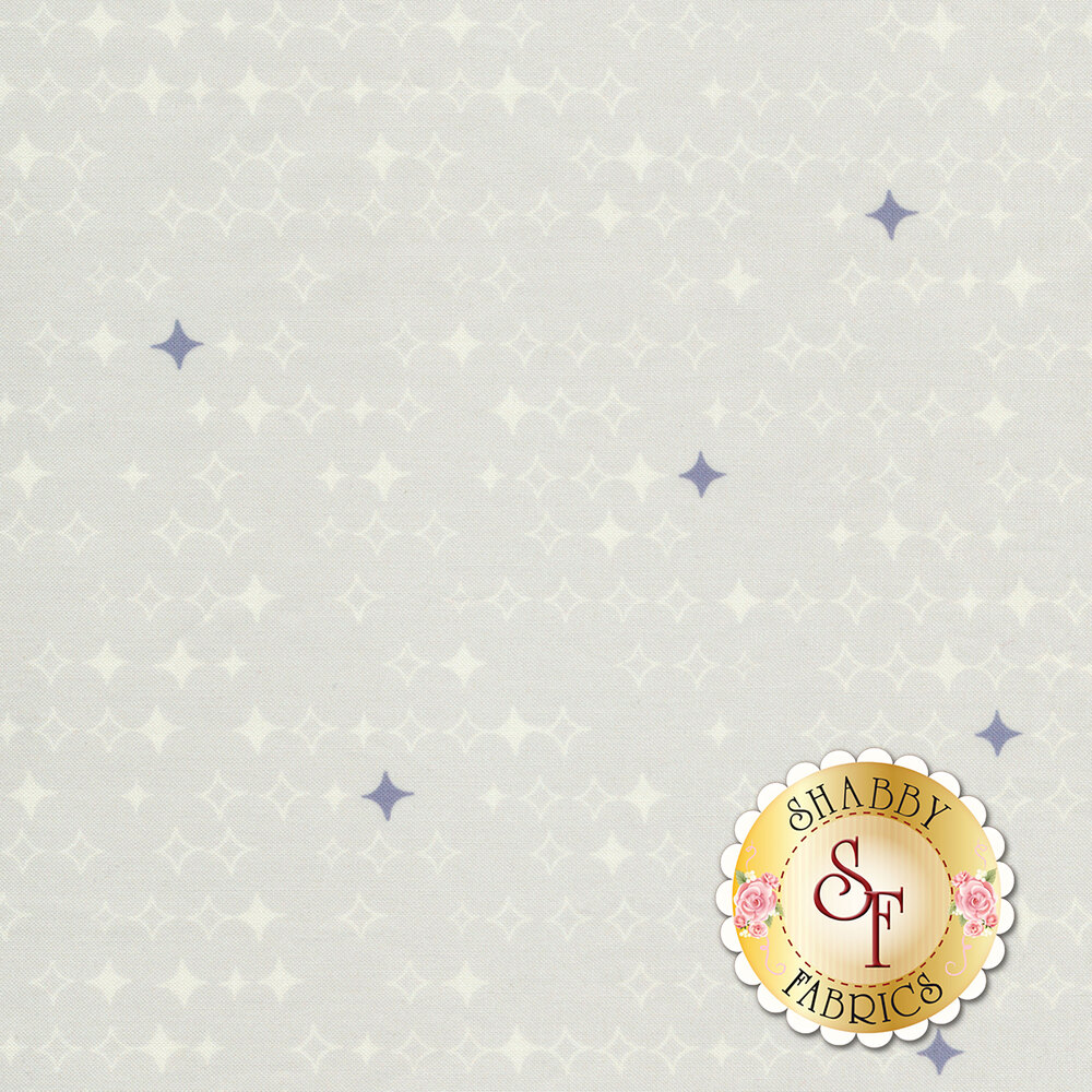 Vertical diamond stars on a light grey background | Shabby Fabrics