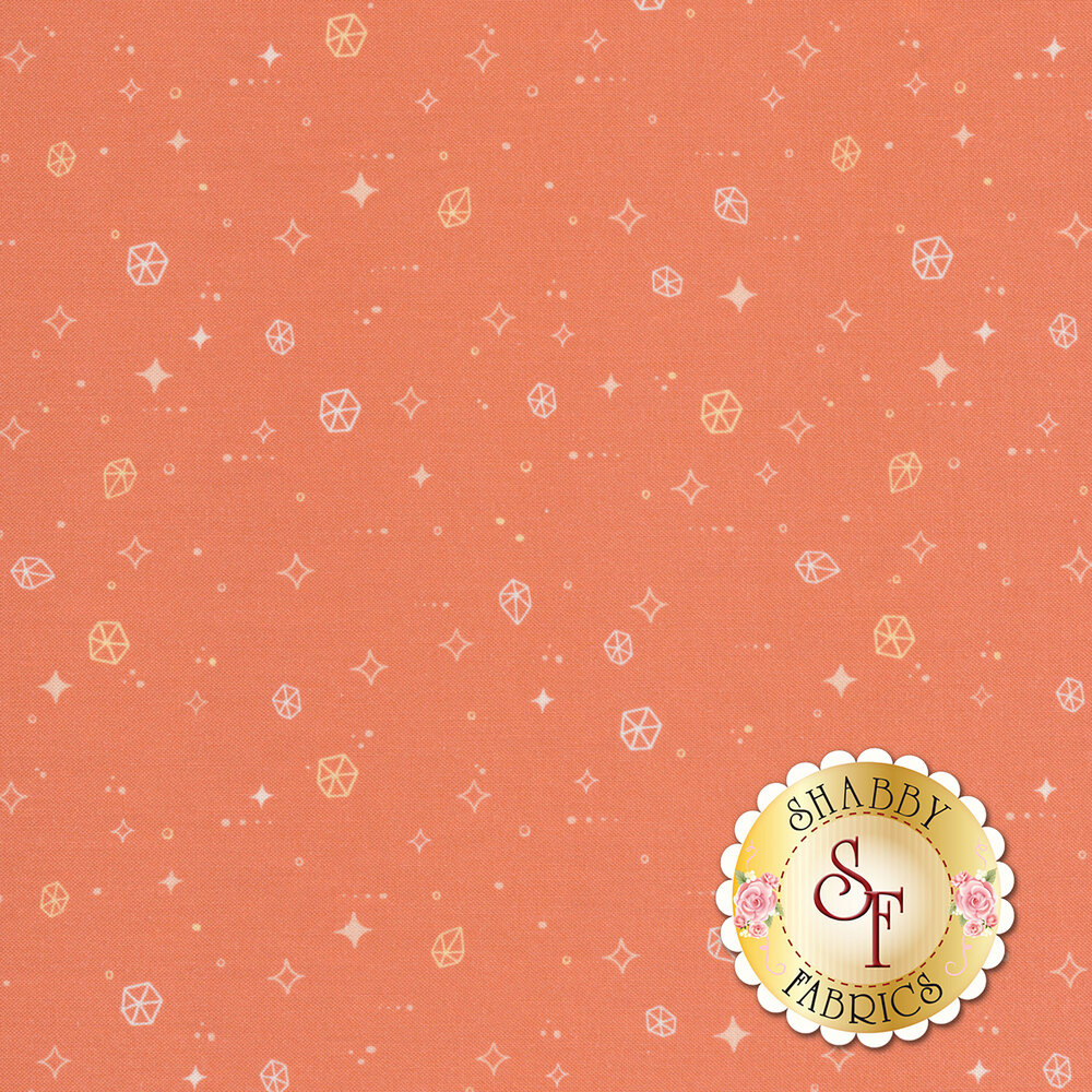 Geometric asteroids and stars with dots all over an orange background | Shabby Fabrics