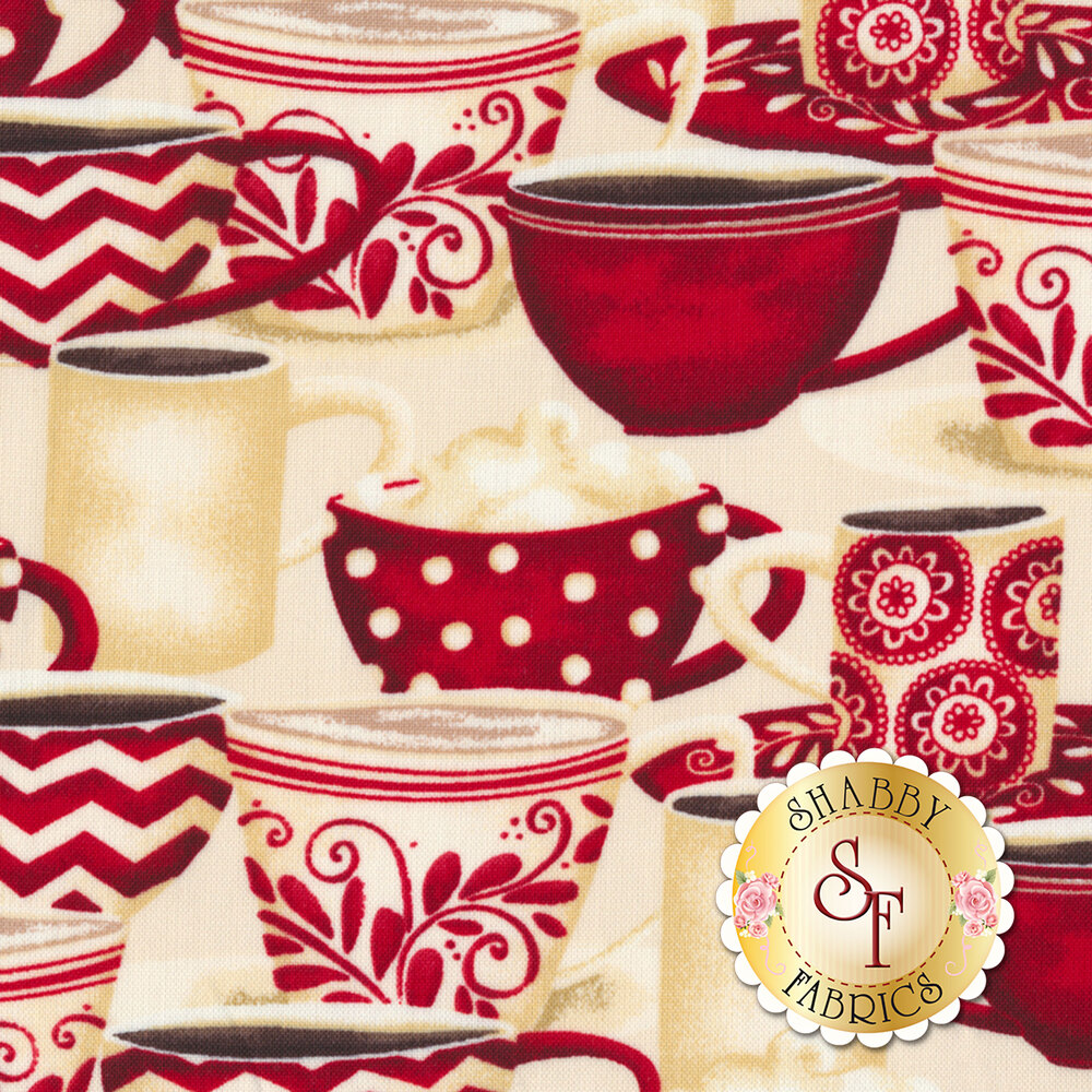 Morning Coffee 56054-131 Packed Coffee Cups Cream by Wilmington Prints REM
