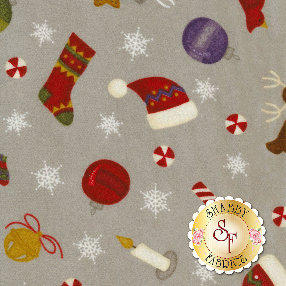 Tossed winter objects on a grey mottled background | Shabby Fabrics