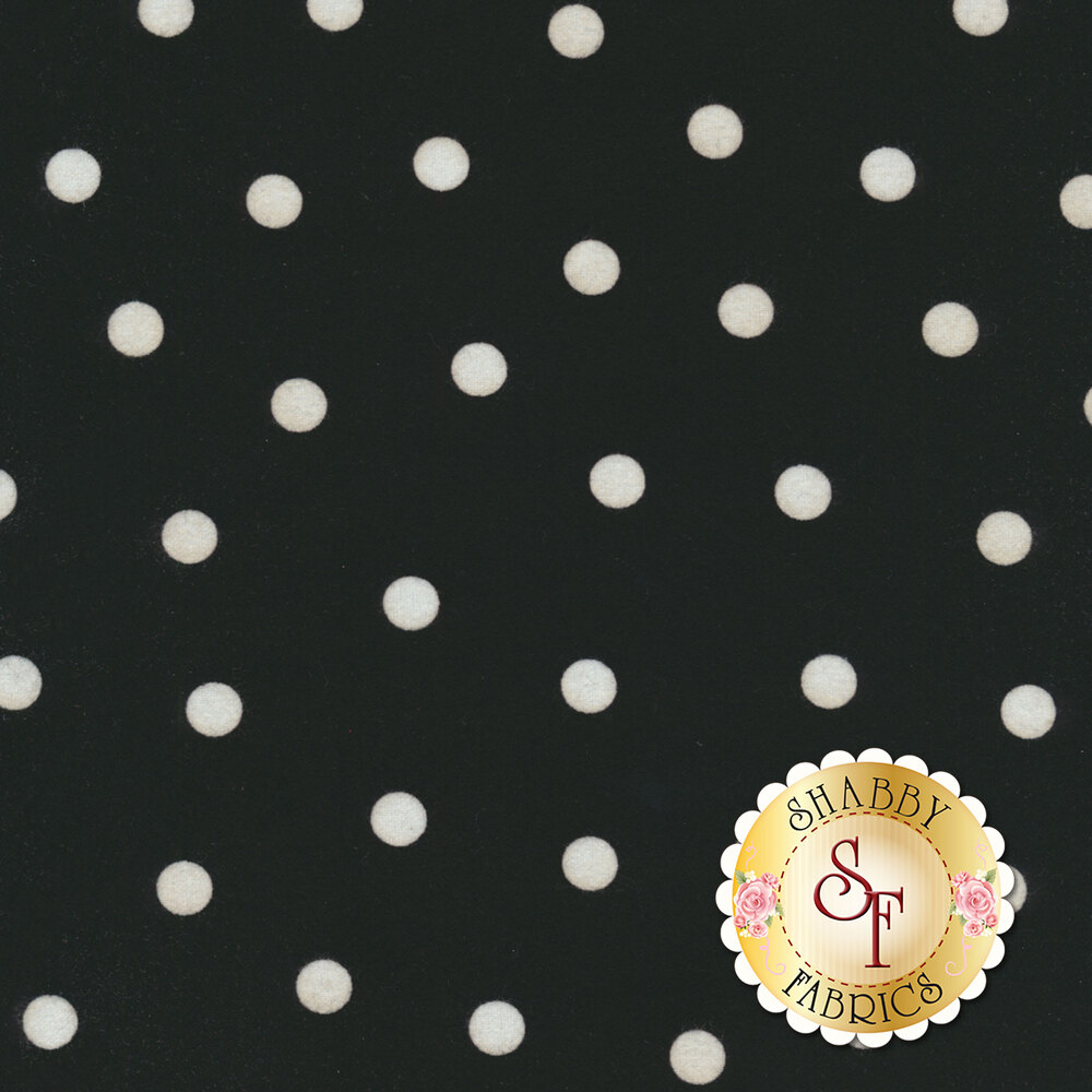 White polka dots on a black background | Shabby Fabrics
