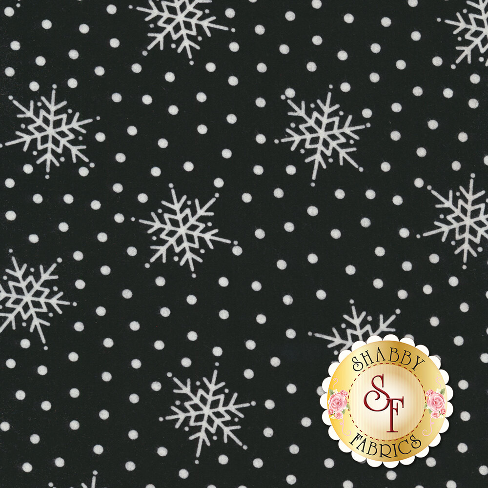 White snowflakes and white dots on a black background | Shabby Fabrics