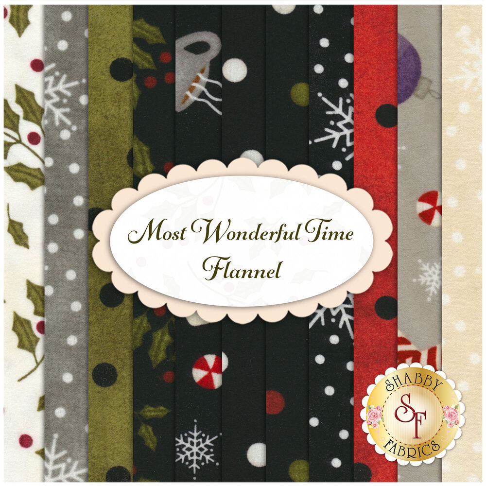 A collage of the flannel fabrics included in the Most Wonderful Time FQ set | Shabby Fabrics
