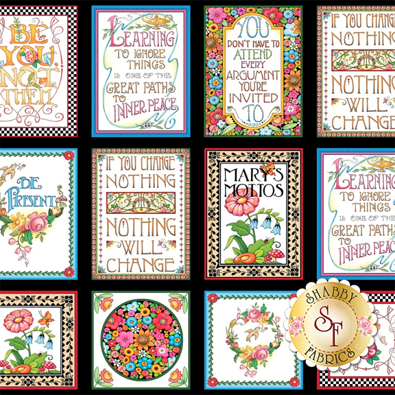 Mottos To Live By 24348-X Panel by Mary Engelbreit for Quilting Treasures Fabrics
