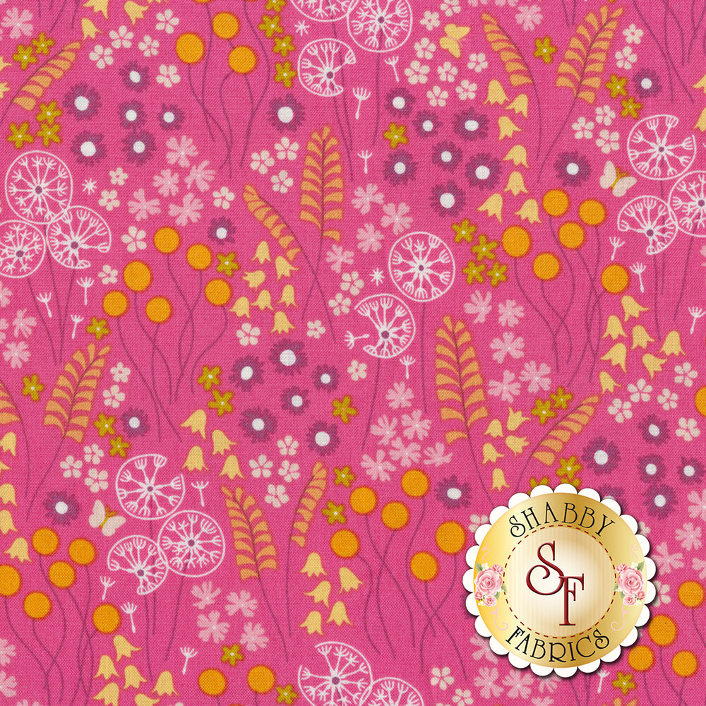 A variety of stylized flowers on a bright pink background | Shabby Fabrics