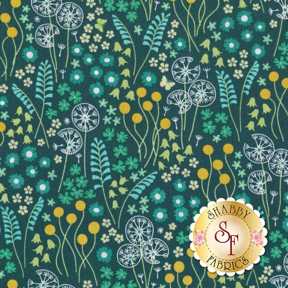 Variety of stylized flowers on a dark teal background | Shabby Fabrics