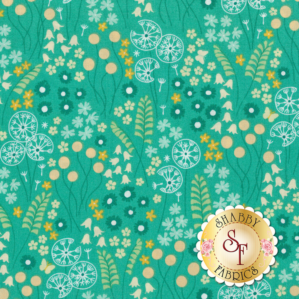 A variety of stylized flowers on an aqua background | Shabby Fabrics
