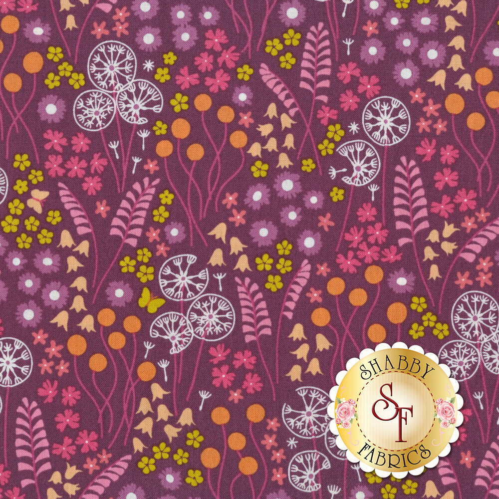 A variety of pink and yellow flowers on a dark purple background | Shabby Fabrics