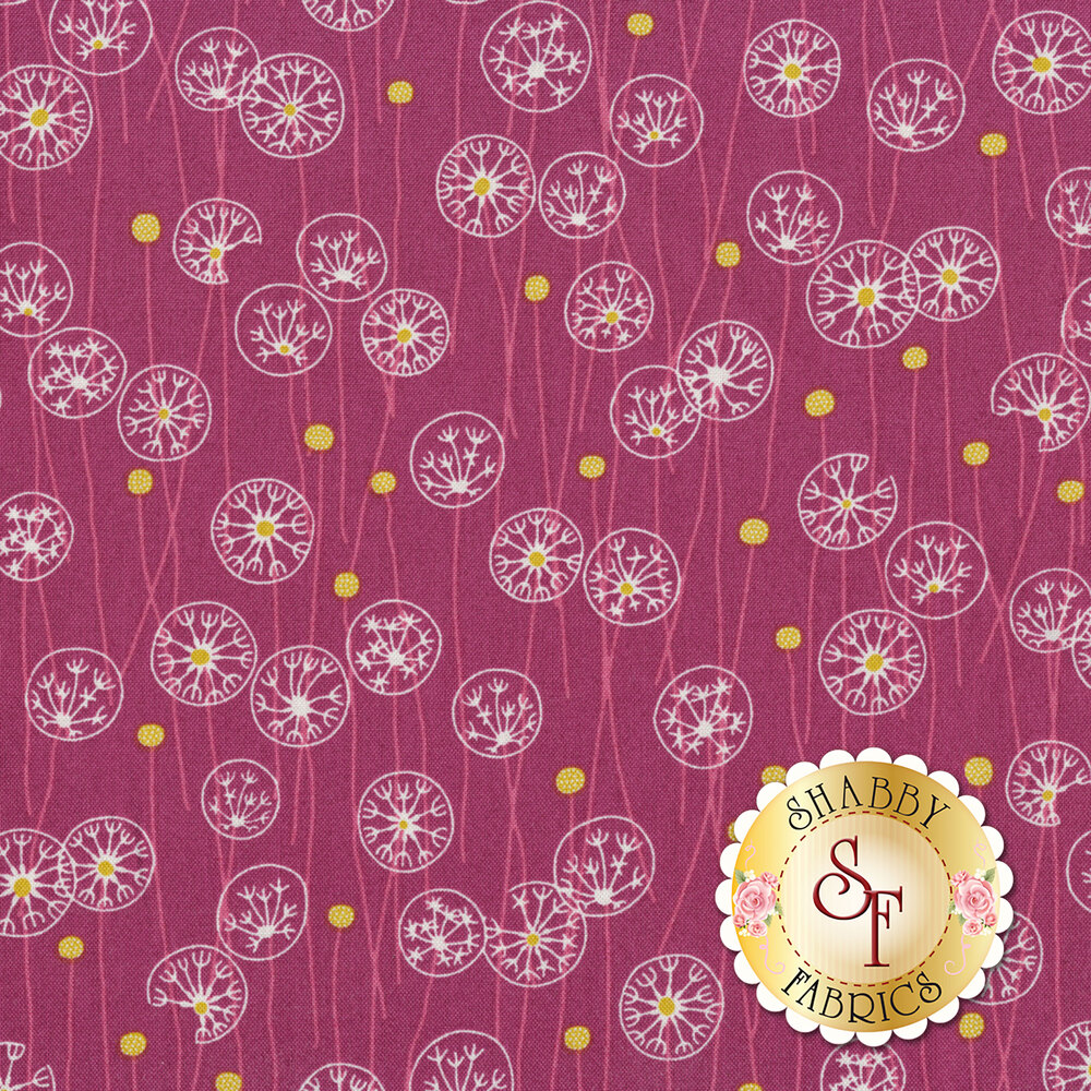 Stylized tossed dandelions on a purple background | Shabby Fabrics