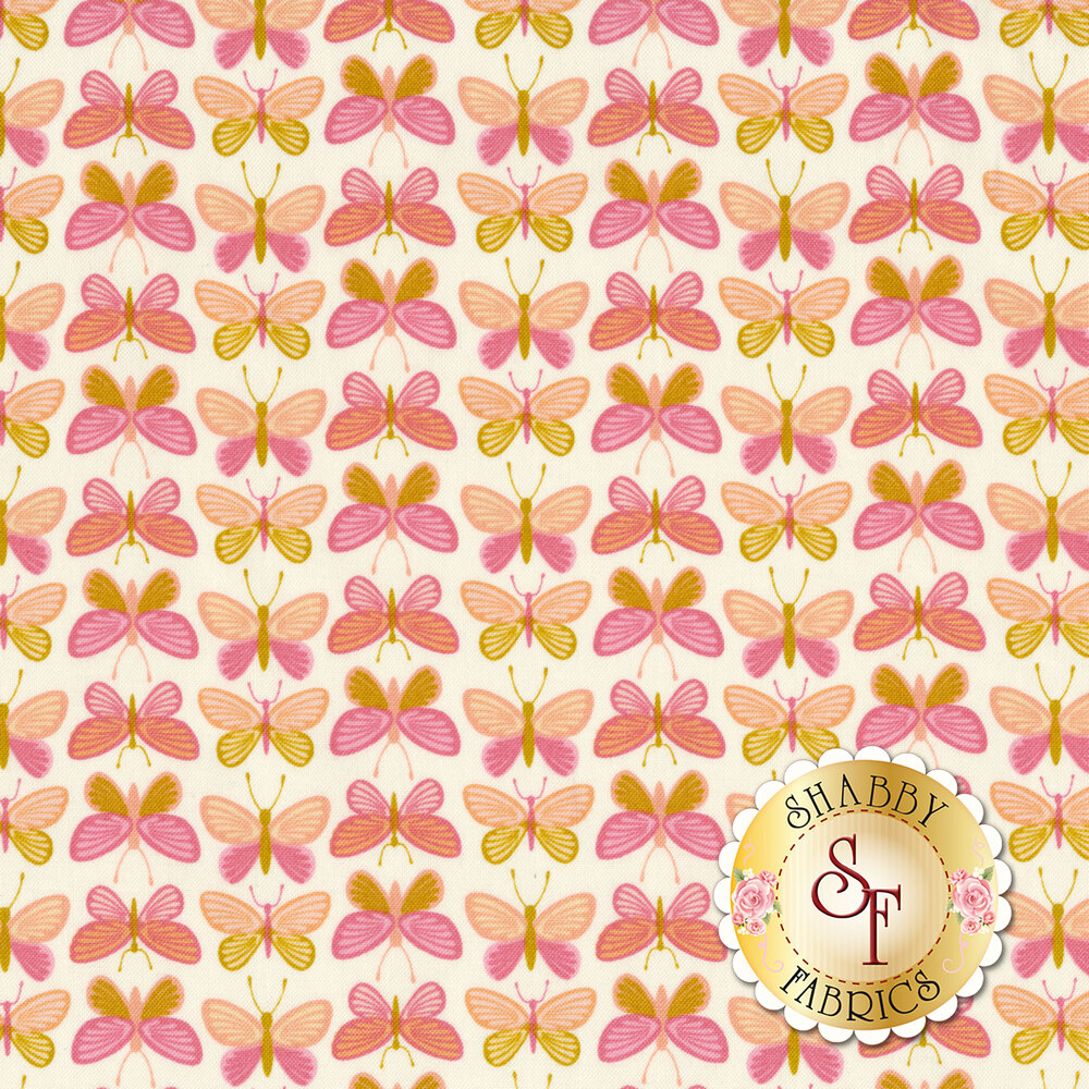 Alternating rows of pink and yellow butterflies on a white background | Shabby Fabrics