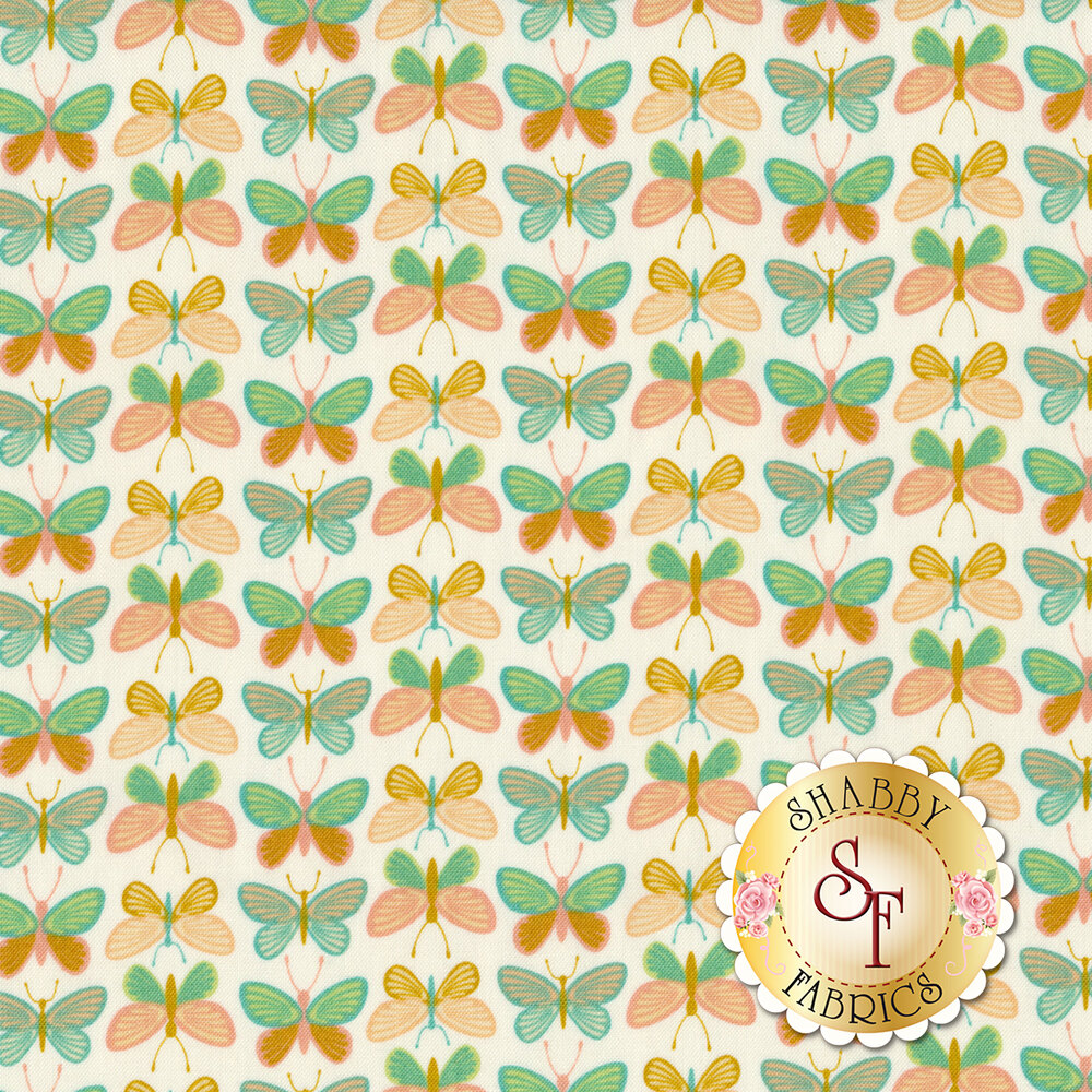 Alternating rows of yellow and green butterflies on a white background | Shabby Fabrics