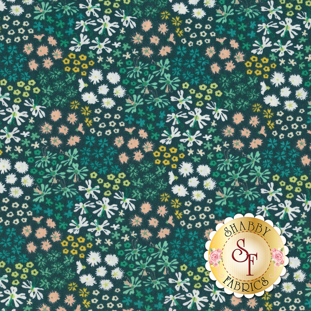 A variety of colorful flowers on a dark teal background | Shabby Fabrics