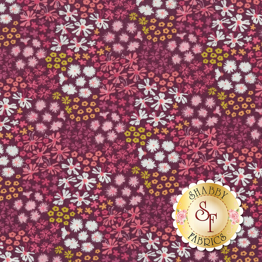 A variety of colorful flowers on a dark purple background | Shabby Fabrics