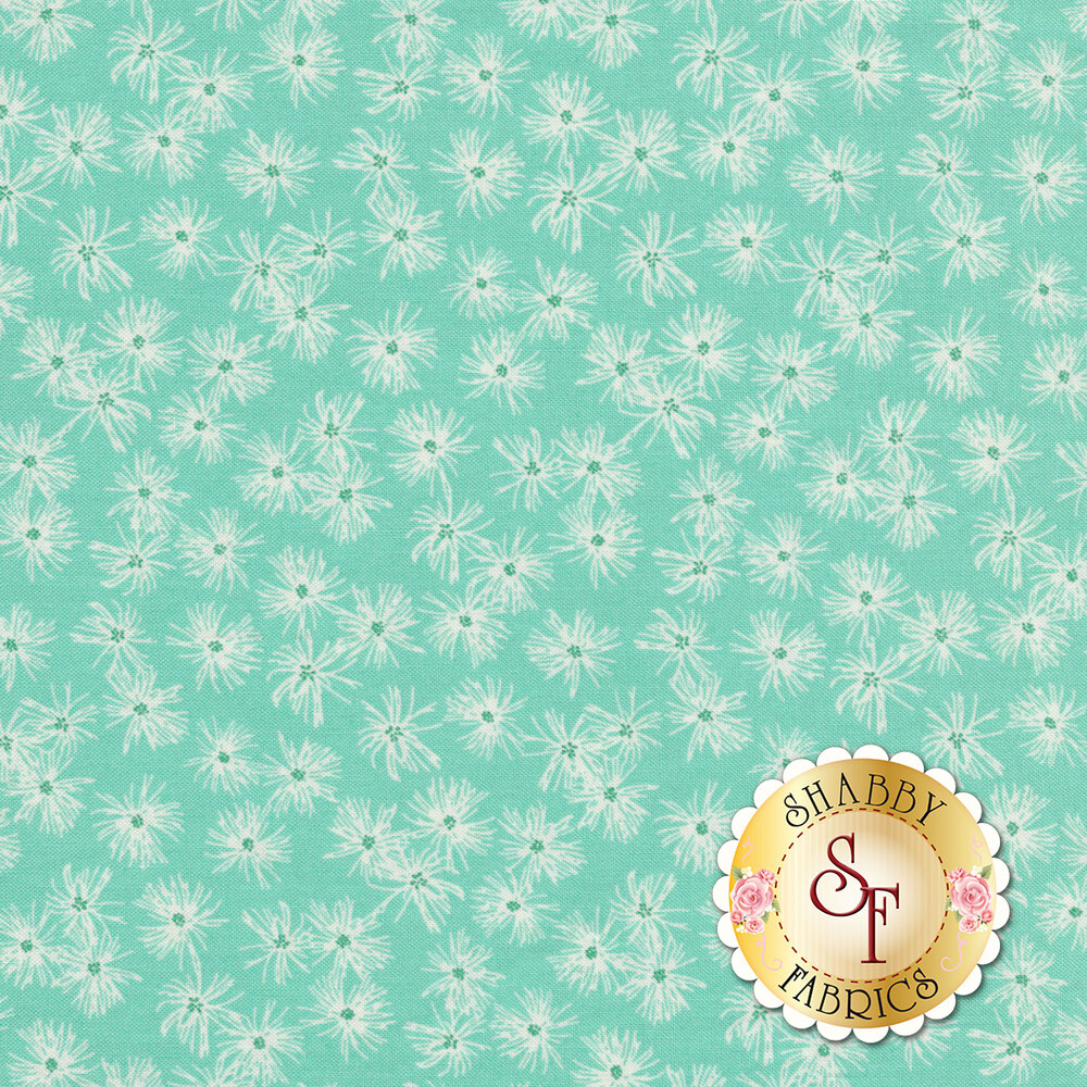 Small dandelion blooms on an aqua background | Shabby Fabrics