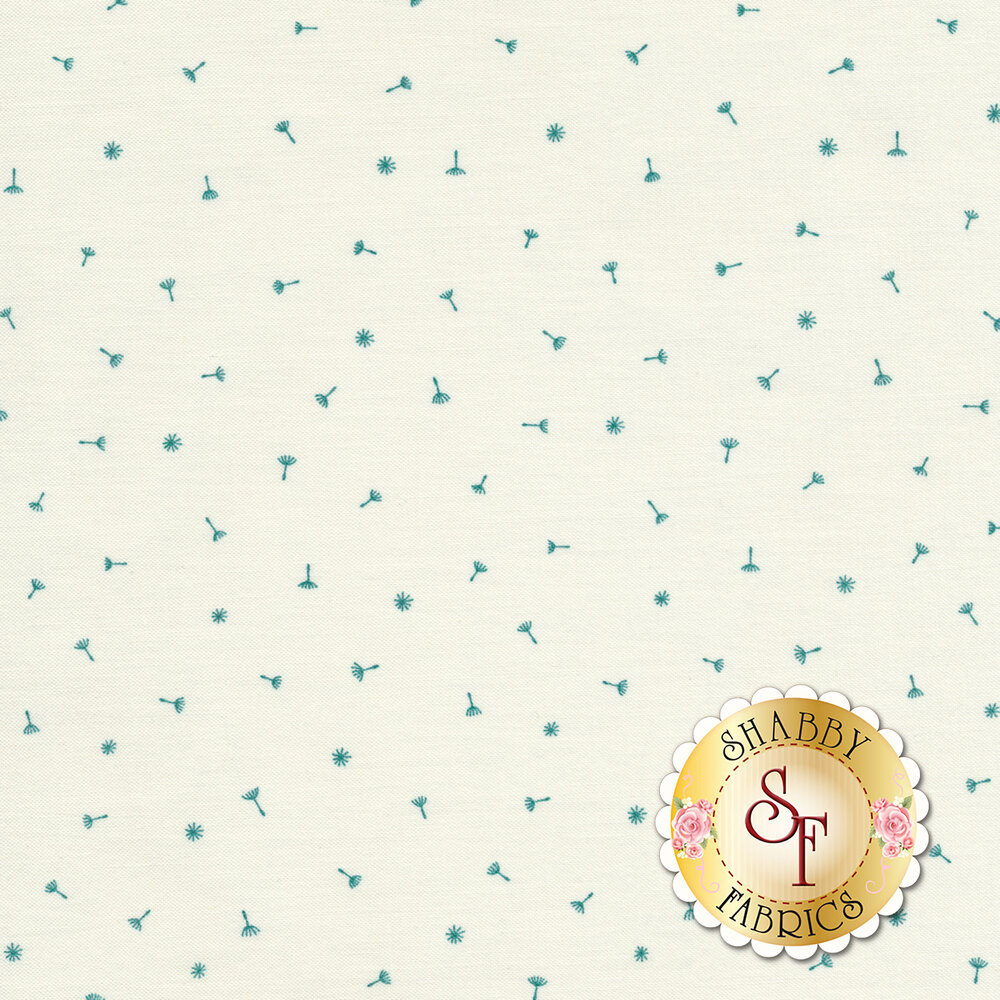 Ditsy tossed teal dandelions on a white background | Shabby Fabrics