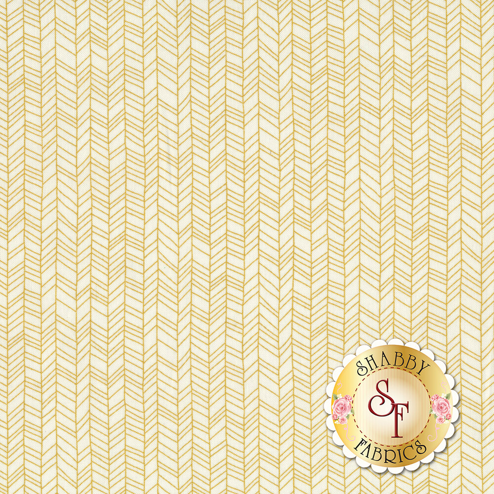 Hand drawn dark yellow repeating chevron patterns on a white background | Shabby Fabrics