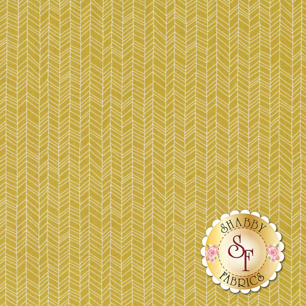 White hand drawn chevron patterns on a dark yellow background | Shabby Fabrics