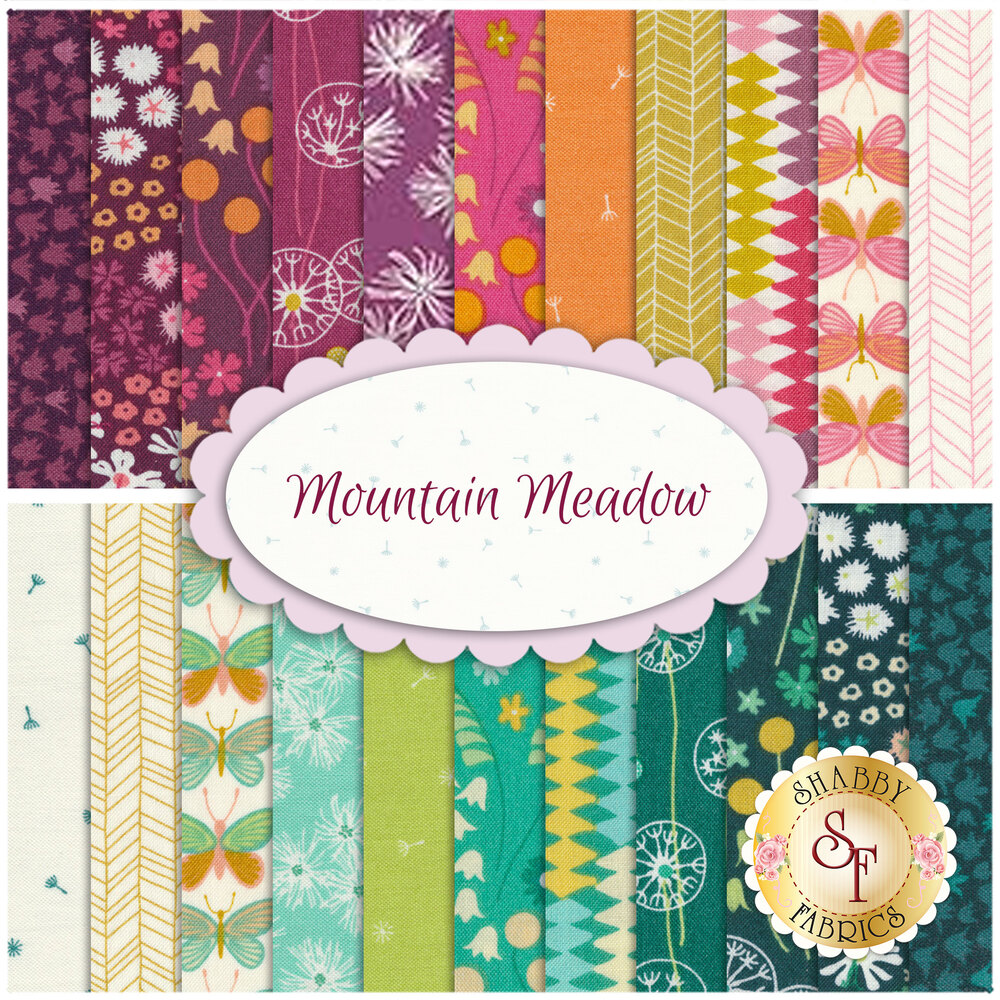 A collage of the fabrics included in the Mountain Meadow 22 FQ Set | Shabby Fabrics