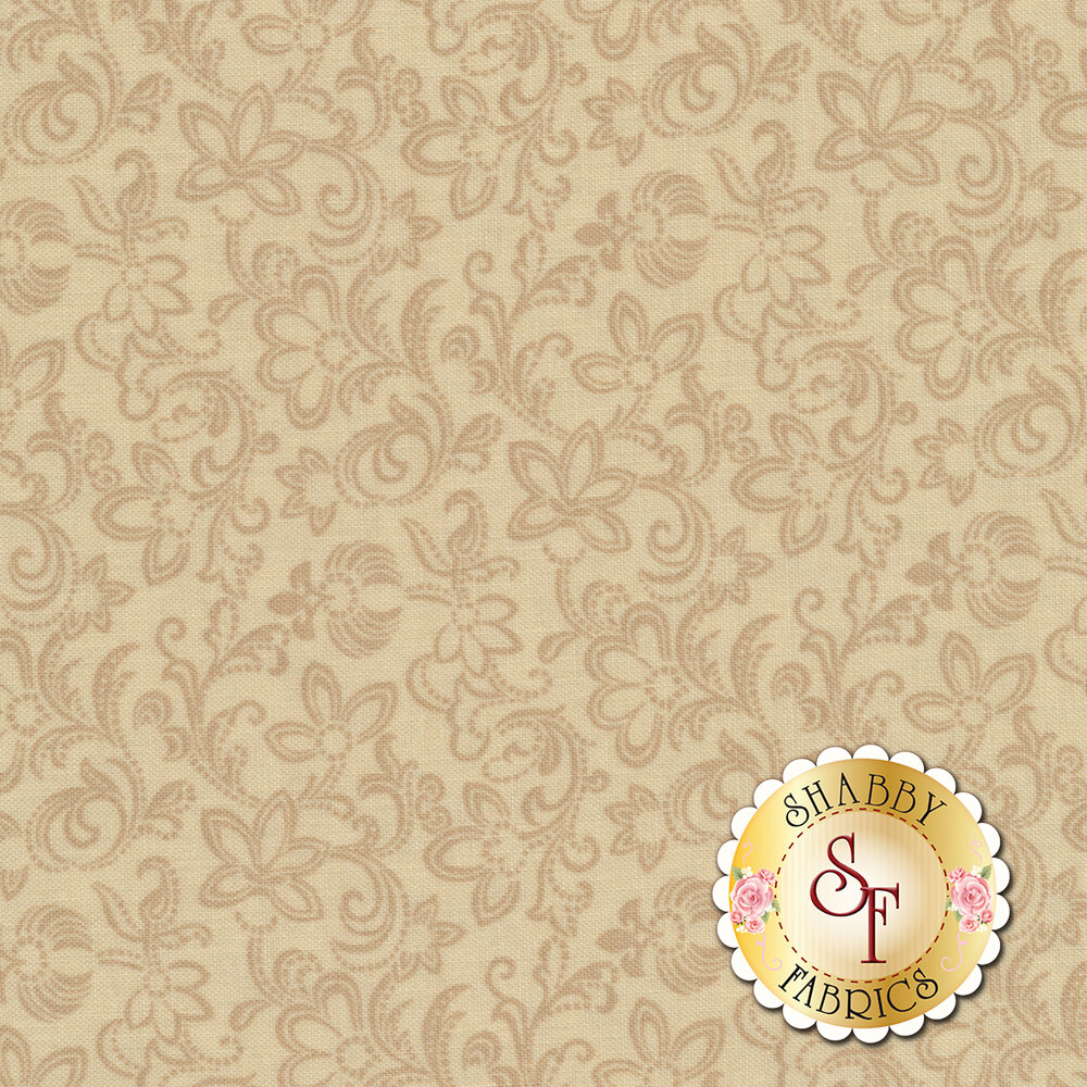 Mrs. Miller's Apprentice 8323-0192 Cream Scroll by Pam Buda for Marcus Fabrics REM