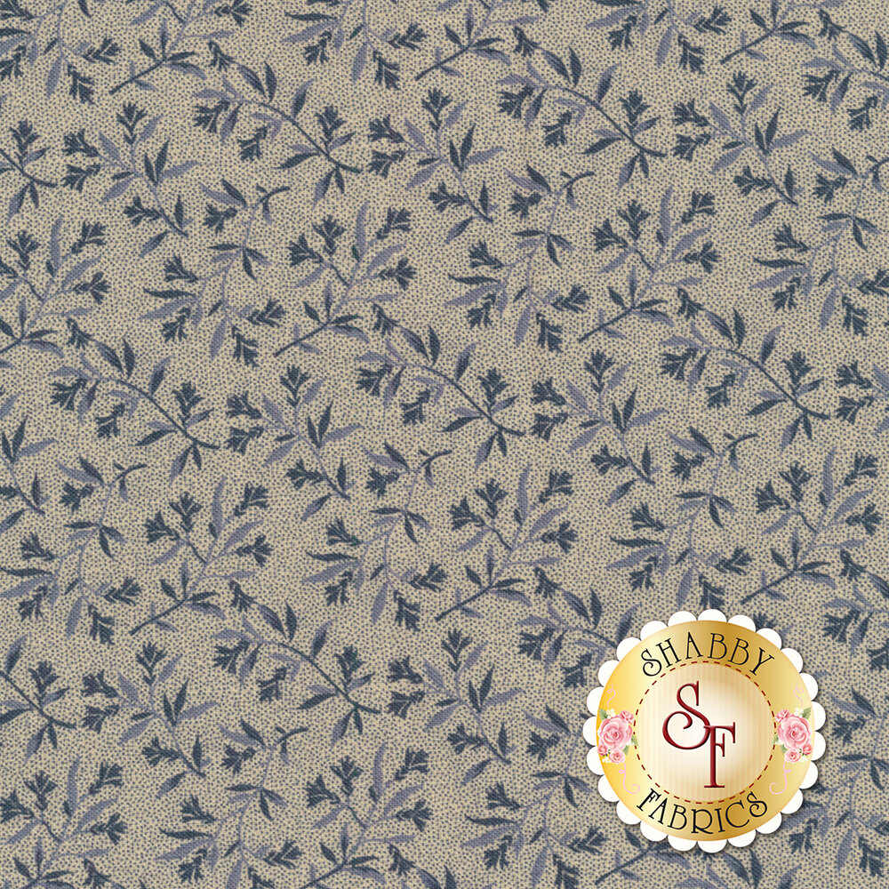 Mrs. Miller's Apprentice 8326-0150 Blue/Cream Floral Vine by Pam Buda for Marcus Fabrics REM