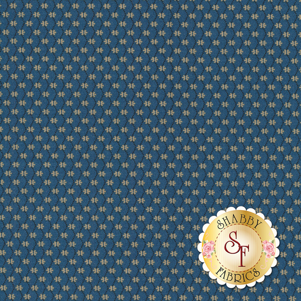 Mrs. Miller's Apprentice 8330-0150 Blue Floral Chain by Pam Buda for Marcus Fabrics