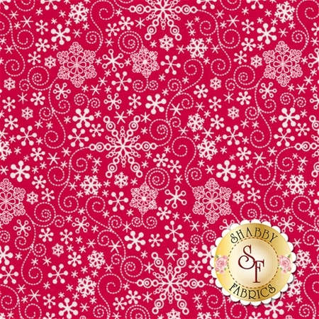 Mulberry Lane 1896-10 Snowflake Red by Cherry Guidry for Benartex Fabrics