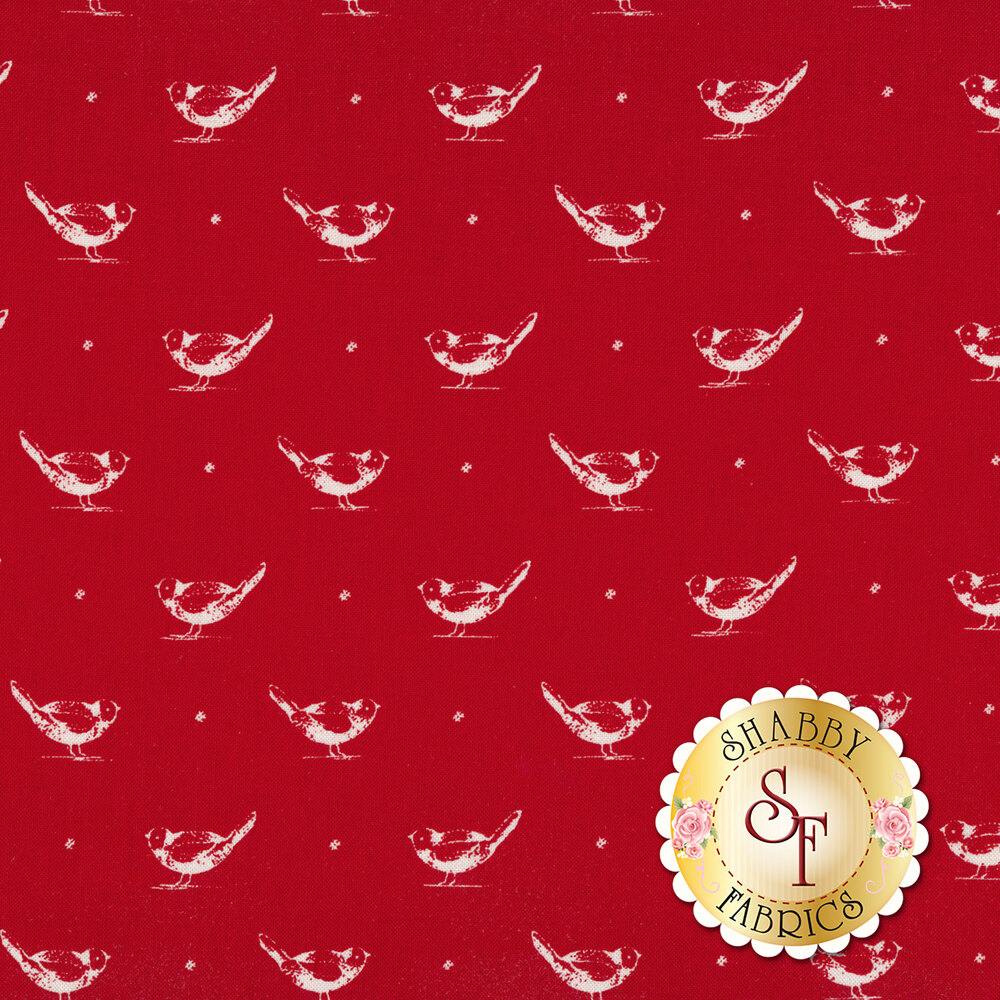 White toile birds on red | Shabby Fabrics